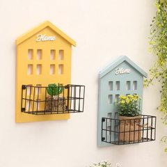 创意木制置物架多功能 客厅墙面杂物整理收纳架壁挂装饰隔板壁饰 黄色