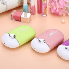 Summer new mini hand-held air conditioner fan with USB charging and portable hand-operated nail salo pink