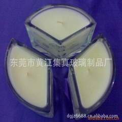Triangle glass/fan/three-in-one combination/candle glass candlestick crafts Diameter 118* height 78MM