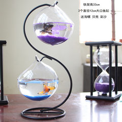 Hanging fish tank mini tank office desktop creative glass small goldfish tank aquarium aquarium tank S frame +2 balls 12 cm in diameter