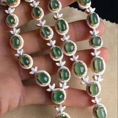 Natural non-optimized ice seed jade ring face Mosaic necklace wholesale 10.5/6.2/3.6 mm. 9.2/7/3.3 mn. 6.5/5. / 3.2 mm