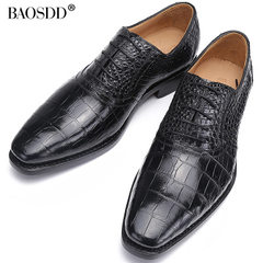 宝斯度鳄鱼皮鞋商务鞋正装男士低帮鞋真皮鳄鱼皮肚皮尖头系带男鞋 黑色 39