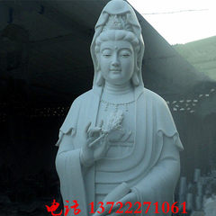 Stone guanyin statue of Buddha three sides of white marble guanyin temple of Buddha custom manufactu 150 cm