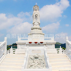 Large white marble guanyin square worship shi guanyin three sides of the guanyin buddhist temples de According to customer requirements