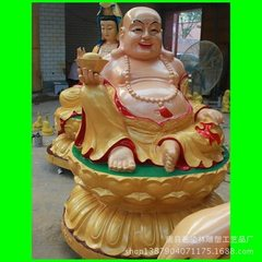 Manufacturer customized large bronze statue of Buddha religious supplies painted maitreya sculpture  1.6