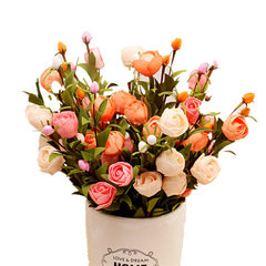 PE泡沫花五色玫瑰蕾仿真花家居婚庆拍摄背景瓶插假花软装装饰摆件 粉色