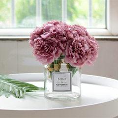 北欧花瓶小花器矮款敞口玻璃花瓶水培花器软装家居装饰拍照背景 含贴纸