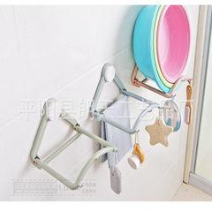 浴室卫生间洗脸盆挂架自动回弹脸盆置物架强力无痕免钉吸盘面盆架 北欧蓝