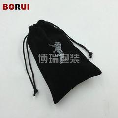 厂家销售 黑色针织底绒布袋 束口袋绒布袋 绒布袋束口抽绳绒布袋