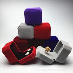厂家热销八角绒布盒戒指盒耳钉盒耳环盒珠宝首饰盒包装饰品礼品盒 粉色八角戒指盒