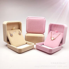 Manufacturers sell high - grade pendant box earrings box jewelry box pink flannelette box color 80 x Octagonal beige pendant box