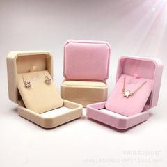 厂家热销高档吊坠盒耳环盒首饰包装盒粉色绒布盒 多色 80×70×40 八角米色吊坠盒