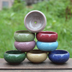 Multi-meat flowerpot 12356 eight-color ice cracked ceramic flowerpot Korean multi-meat tabletop flor Apple green