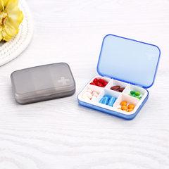 六格分装塑料小药盒 创意便携式药盒   随身携带药品迷你收纳盒子 绿色