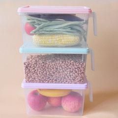 日式透明冰箱收纳盒塑料厨房密封保鲜盒抽屉式储物盒长方形鸡蛋盒 紫色