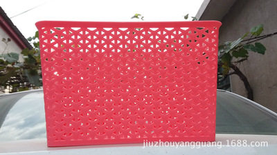 Creative thickening plastic receiving basket desktop receiving basket kitchen bathroom shopping bask red 34 * 23.5 * 27
