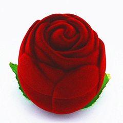 小号植绒玫瑰花圆形戒指盒 结婚求婚礼物包装饰品盒 首饰盒批发 红色 42×42×45mm