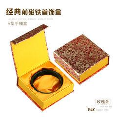 手镯盒厂家生产前磁铁纸质玉镯玛瑙佛珠手链盒印logo烫金烫银纸盒 前磁铁玫瑰金手镯盒 红绸布心