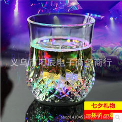 LED luminescent glass water induction pineapple cup into the water that is bright seven color night  Diameter 6.8cm* height 8cm bottom 5.5cm