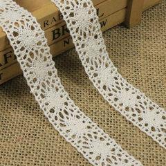 爆款2.2厘米双直边棉线蕾丝 桌布垫沙发垫修饰花边 窗帘辅料批发 本白色2.2厘米宽300码一包