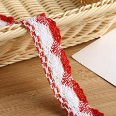 5色彩色编织蕾丝花边辅料DIY手工辅料 装饰沙发桌布窗帘棉花边 红色 宽4cm请100的倍数拍