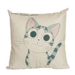 Digital printed cotton and linen pillow cartoon cat cushion cover household sofa cushion cover 01 45 * 45 cm