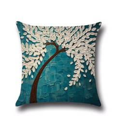 Factory spot three-dimensional oil painting trees, flowers, cotton and linen cushion for leaning on  01 45 * 45 hold pillow case