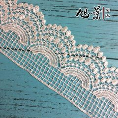 High - grade fashionable curtain fabric accessories, wavy side lace, wide polyester and silk water-s white