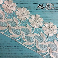 Various sizes customized wide edge embroidery flower curtain accessories polyester silk water-solubl white