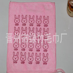 Manufacturer wholesale super fine fiber absorbing water kindergarten children`s cartoon small towel  Light pink rabbit head 25 * 25