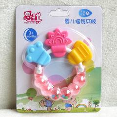 厂家直销 思琪婴儿响铃牙胶 摇铃牙胶宝宝组合磨牙胶 硅胶磨牙棒 粉色
