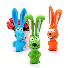 工厂现货批发调皮狗玩具 可爱兔子 狗狗发声乳胶玩具 耐咬磨牙 蓝色河马