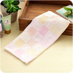 A063 cotton gauze baby towel baby face towel baby  Colorful checkered scarf pink 27 * 27 cm
