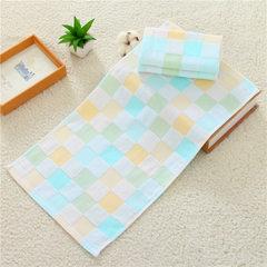 Kaoyang kangxin pure cotton gauze baby towel dry a Tartan green child`s towel 50 x 25 cm
