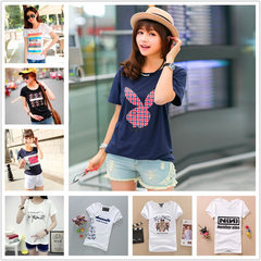 Women`s short-sleeved 2018 Korean version of the n Miscellaneous paragraph multicolor Mixed colors and sizes