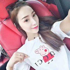 【花间婷】夏款短袖T恤小猪佩奇成人女装社会人抖音同款一件代发 8376粉 M