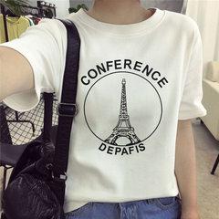 一件代发夏季韩版新款短袖T恤女士宽松大码上衣夜市摆摊批发女装 650 S