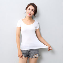 Summer walk pure color women`s short sleeve blouse white All code