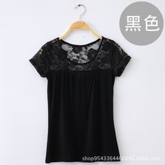 Mondale + lace lace short-sleeved T-shirt woman hu black All code