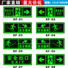 The fluorescent wall of the exit sign of night lig 13.5 * 36 cm