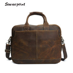 Hot style retro crazy horse leather men`s leather  brown