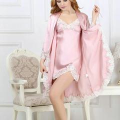 100 silk nightgown set silk mulberry silk pure col pink m