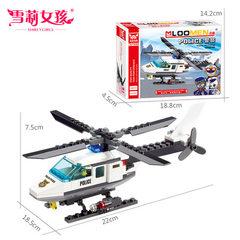 益智拼装模型塑料玩具 批发地摊热卖直升机小颗粒积木 6729