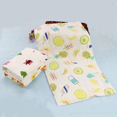 六层纱布童巾纯棉新生宝宝口水巾婴儿小毛巾儿童洗脸卡通印花定制 绿树粉鹿
