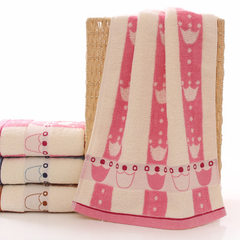 Cotton towel pure cotton plain uncut towel jacquar pink 76 * 34 cm