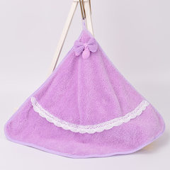 Coral-velvet hand towel super soft children`s adul violet The radius of 37