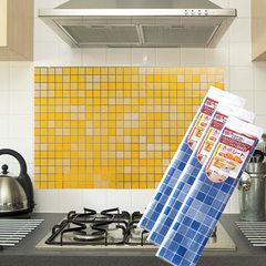 1384 仿马赛克厨房防油贴纸 镀铝贴墙贴纸耐高温防油烟纸贴 白色