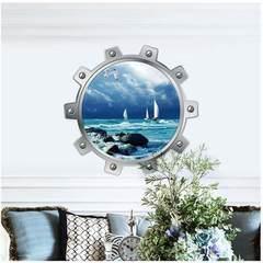 新款3D特效窗户墙贴潜水艇系列5002 海洋帆船 家居装饰墙贴纸批发 5002:50*50CM