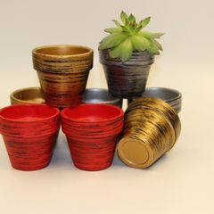 Red pottery flowerpot zakka japan-korea style mini Brush gold, brush silver, brush red 4 * 6 * 7 cm