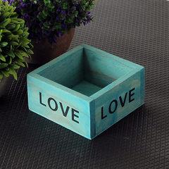 热卖爆款 zakka木质多肉花盆小木盒 迷你小东西收纳盒 多肉植物盒 蓝色 迷你尺寸